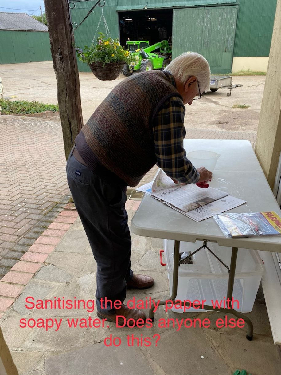Ralph Metson - Sanitising the daily paper with soapy water - does anyone else do this